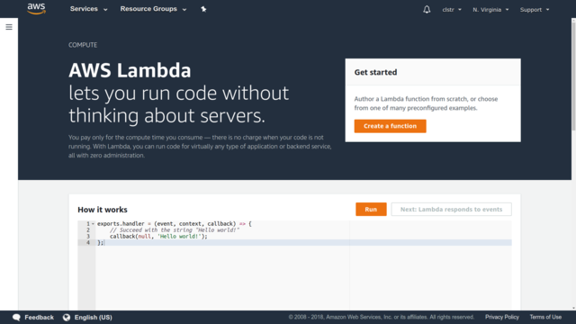 The AWS Lambda intro page. That Run button will actually fire up a live function